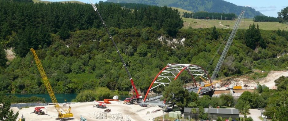 130 Tonne Grove and 25 Tonne Roughie Cranes working on the ETA overpass bridge in Taupo.